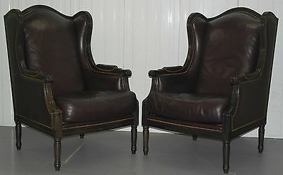 Pair Of Theodore Alexander Rrp £3000 Aged Brown Leather French Style Armchairs