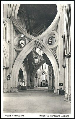 Vintage Pc-Inverted Transept Arches Wells Cathedral Real Photo Unposted
