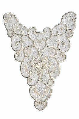 """17.5""""x12.5"""" Off-white hand sewn Beaded Sequins on Sheer for Bridal Evening Gown"""