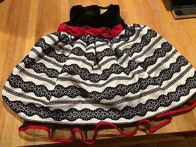 Christmas Baby Girl Black & White Red Roses Dress Velvet 6-9 Months