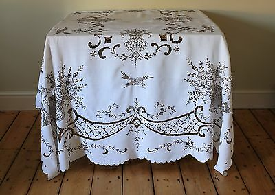 Extra Large Vintage Linen Madeira Hand Embroidered Floral Tablecloth
