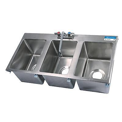 "Bk Resources Three Compartment 36""""x18"" Stainless Steel Drop-In Sink - Bk-Dis-10"