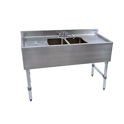 """Bk Resources 48""""W Two Compartment Stainless Steel Underbar Sink - Bkubs-248Ts"""