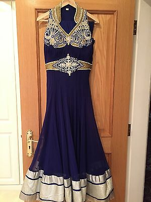 royal blue indian anarkali dress Suit. brand new cost £250. Size 8