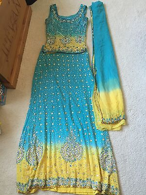 Frontier Phagwara Indian Lengha. Blue & Yellow Size 8. £400 Brand New Cost