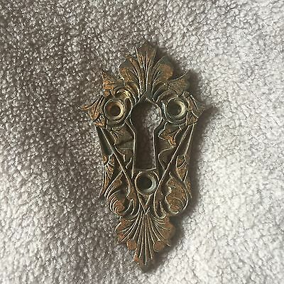 ANTIQUE Very Ornate BRONZE KEYHOLE ESCUTCHEON