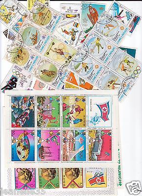 PHILATELIE : timbres : SPORT/ FOOTBALL/ CYCLISME/ JEUX OLYMPIQUES