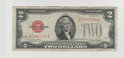 1928 G $2 Two Dollar Usa Red Seal Note Circulated 104A