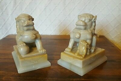 Vintage Pair Of Chinese Carved Soapstone Foo Dogs
