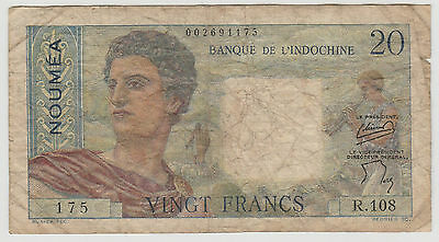 1954 20 Francs Noumea New Caledonia Note Circulated 175