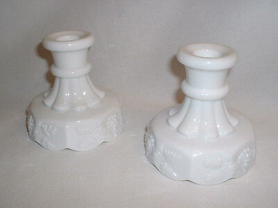 "Vintage Pair Westmoreland White Milk Glass Paneled Grape 4"" Candle Holders"