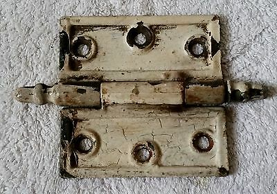 "Vintage  3-1/2''x 3-1/2"" Cast Iron Ornate Steeple Top Door Hinge - Shabby White"