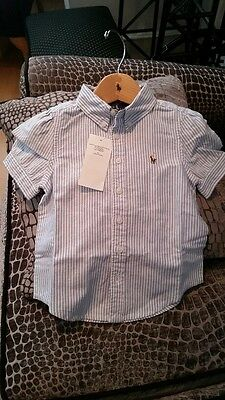 BNWT Ralph Lauren GIRLS Blue/White Striped Short Sleeve Oxford Shirt 4/4T