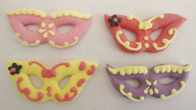 12 x Edible Masks Masquerade Cupcake Toppers Decorations Party Cakes