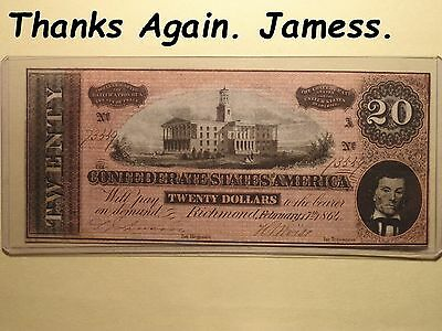 One CSA 1861 20 Dollar Paper Money (AU to Uncirculated)