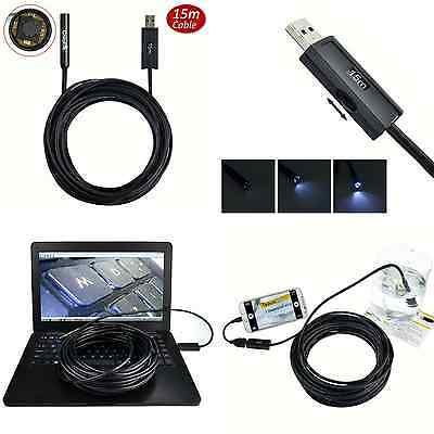 USB Endoscope Inspection Camera Pipe HD 50′ Sewer Video Drain Cleaner Waterproof