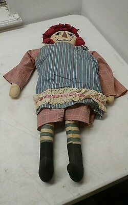 Raggedy Ann Doll Fabric Hair Vintage Antique