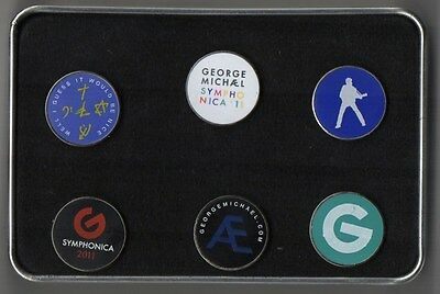 George Michael Badge Box Set Official 6 x Badges in Tin