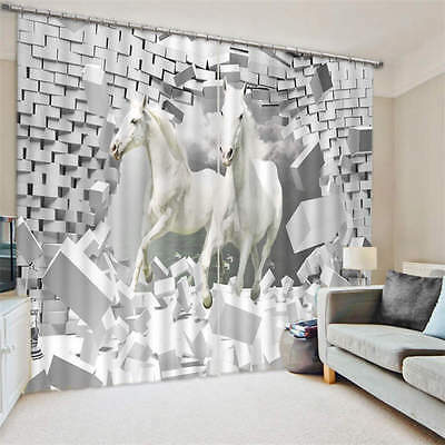 Two White Horses Broke Out Wall 3D Blockout Photo Printing Curtains Draps Fabric