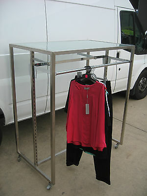 Chrome Mobile Double Sided Adjustable Clothing Stand Rack, Tinted Glass Top