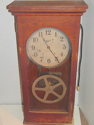 1937 Simplex Time Recorder Oak Wall Mantel Clock With Instructions CLOCK WORKS