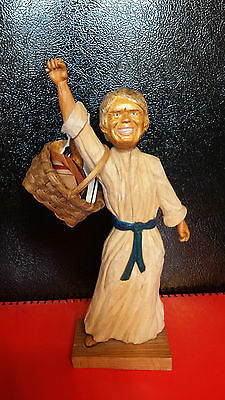 A wood carved statue