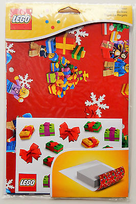 NEW 2015 Lego 851407 Christmas GIFT Wrapping Paper Holiday + Stickers -INTL.