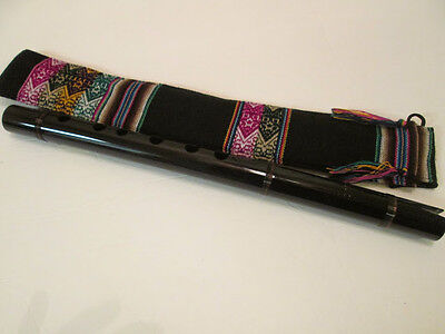 Professional Black  Quena  Handmade from  Peru - Case Included -See Video