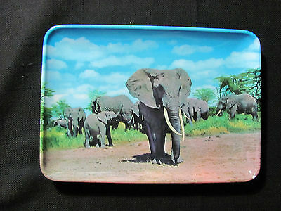 Vintage Mebel Melamine Tip Tray with Elephant Scenery-Made in Italy