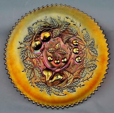 "CARNIVAL GLASS - NORTHWOOD THREE FRUITS / PLAIN BACK Amethyst 9"" Plate"