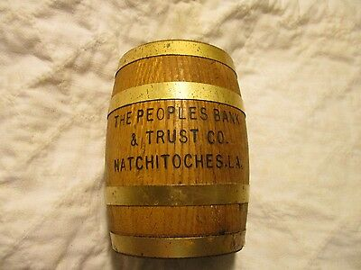 Rare Vintage Wooden Barrel Advertising Still Bank Peoples Bank Natchitoches La