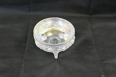 3 Footed Opalescent Bowl with Floral Designs