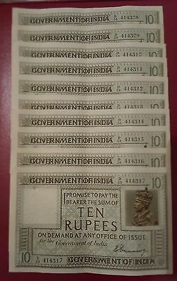 George v 10 rupee notes H Denning Consecutive