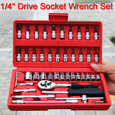 "46pcs Socket Wrench Set CRV 1/4"" Drive Metric Flexiable Extension Bar Truck Case"