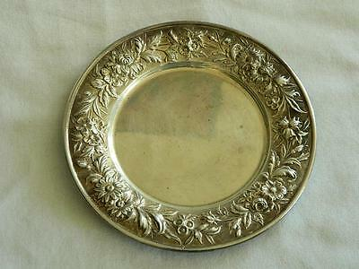 """S.Kirk & Son Repousse Partial Chased 127F Sterling Silver Bread Plate 6.25"""""""