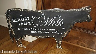 HUGE Black Dairy Milk COW Metal Wall SIGN*Primitive French Country Kitchen Decor
