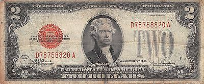 1928 series F $2 Two Dollar Red Seal Note Bill US Currency