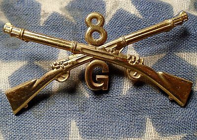 Vintage Spanish War U.S. Cavalry Army NY 8th Infantry G co Rifle Collar Insignia
