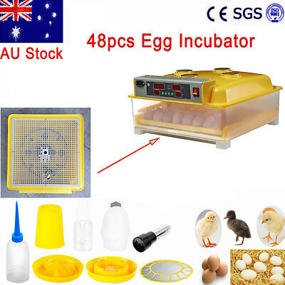 48 Full Automatic Turning Incubator Digital LED Display Poultry Eggs Brooder New