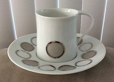 Set of 3 BLOCK Bidasoa Spain Creation Reflections Pattern Oval Cup & Saucers