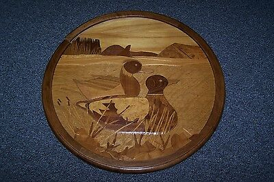 Hand crafted round wood duck picture  BEAUTIFUL