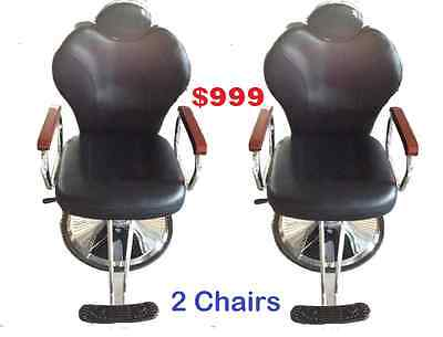 2 x Hydraulic Barber Styling Chair Recling Threading Seat Stool Hairdressing NEW