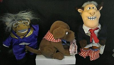 IN FAMOUS MEANIES BEANIE 3 stuffed doll Bull CLINTON/ Buddy the Dog / Donkeyng