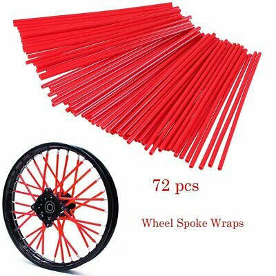 72Pcs Red Spoke Guard Wrap Covers For 18 to 21 inch spoked wheels Motorcycle AU