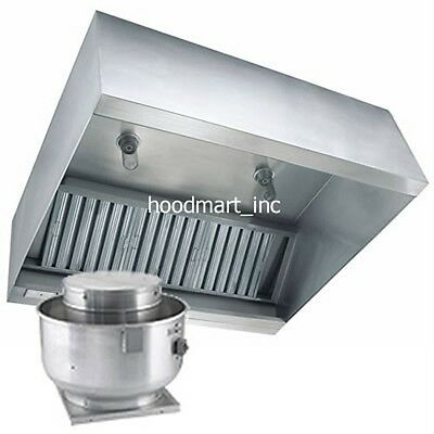 8ft Restaurant Exhaust Hood System Stainless Steel Ventilation Fan and Curb