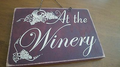 Wood & Metal Sign Wine Art Home Decoration At The Winery Barrel & Grapes Design