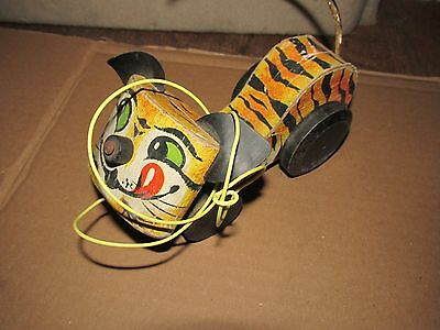 1961 Vintage FP Fisher Price #654 Wooden Pull Toy Tawney Tiger