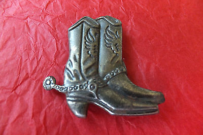 Vintage Button Cover Clip On Cowboy Boots Western Metal Collectable Retro 70S