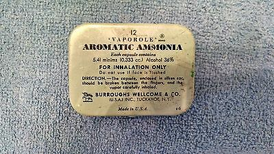 Vaporole Aromatic Ammonia Tin Box with paperwork smelling salts