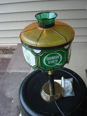 NOS Quaker State Oil Tiffany Style Lamp